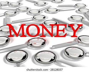 "magnifying glass with text ""MONEY"""