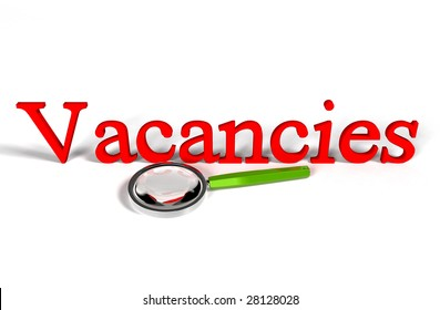"""Magnifying glass and text """"Vacancies"""""""