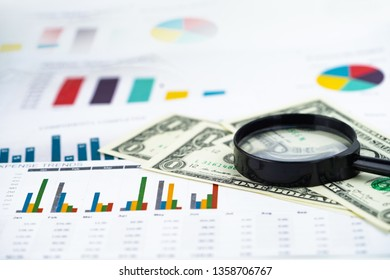Magnifying glass and US dollar banknotes background : Banking Account, Investment Analytic research data economy, trading, Business company concept.