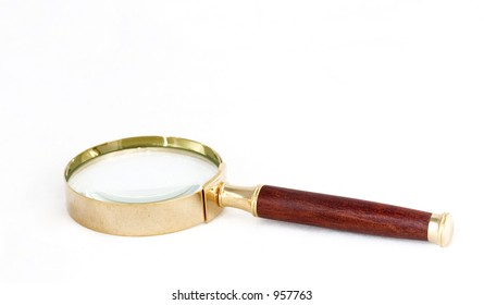 magnifying glass with wooden handle isolated