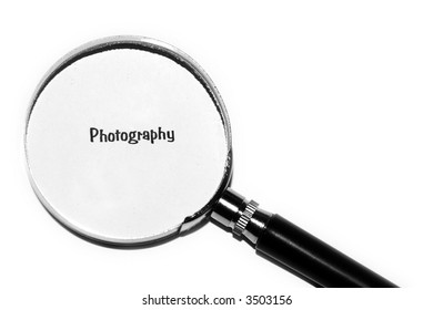 magnifying glass with the word photography
