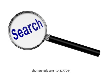 Magnifying Glass with word search isolated on white with copy-space, Searching