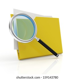 Magnifying Glass and Yellow Folder isolated on white background. Searching concept