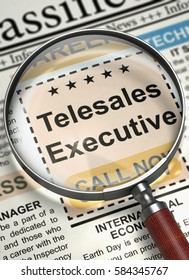 Magnifying Lens Over Newspaper with Classified Ad of Telesales Executive. Column in the Newspaper with the Jobs Section Vacancy of Telesales Executive. Hiring Concept. Selective focus. 3D Rendering.