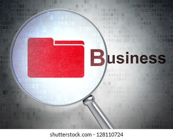 """Magnifying optical glass with Folder icon and """"Business"""" word on digital background, 3d render"""