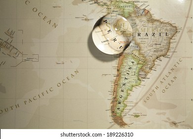 Magnifying Peru on map