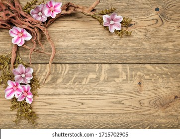 Magnolia flowers blossom on wood background with wood branch, place for text