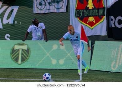 Magnus Eriksson midfielder for the San Jose Earthquakes at Providence Park in Portland Oregon USA July 7,2018.