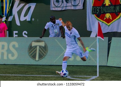 Magnus Eriksson midfielder for the San Jose Earthquakes at Providence Park in Portland Oregon USA July 6,2018.