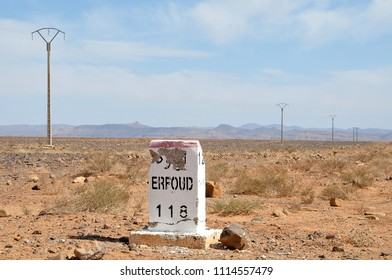 Magreb, Morocco - march 20, 2012: View of the road marker and power line posts in the Erfoud regional road