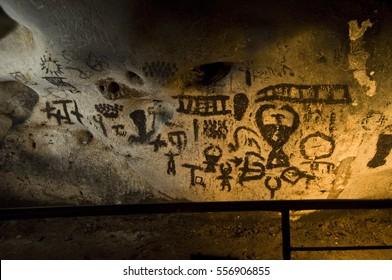 Magura cave in Bulgaria. Prehistoric paintings on rock