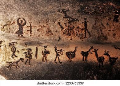 MAGURATA, BULGARIA - OCTOBER 15, 2013: Prehistoric mural drawings in Magura cave