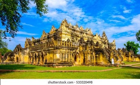 Maha Aung Mye Bom San Monastery complex, Inwa, Mandalay Region, Burma. It was built in 1818