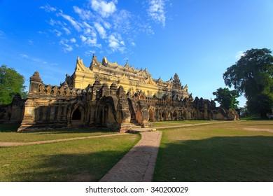 Maha Aung Mye Bon Zan Monastery in Inwa built by the Konbaung dynasty early 19th century (ancient city of Ava) at Mandalay, Myanmar