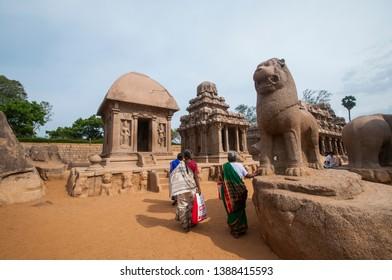 MAHABALIPURAM, TAMIL NADU, INDIA 01 DECEMBER 2017 : Unidentified Tourist visit to five ratha temple in mahabalipuram, It is Monolithic Hindu Temple UNESCO World Heritage Site.