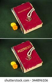 Mahabharat holy indian scripture, with aum locket