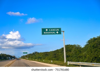 Mahahual Cancun road sign in Mexico Costa Maya