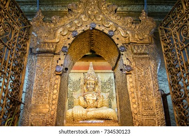 Mahamuni Buddha at Mahamuni temple in mandalay is the most important buddha image and famous place for tourist and buddhist myanmar people,Mandalay,Shan state,Myanmar