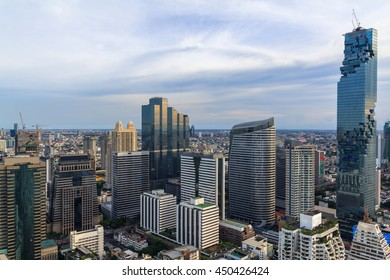 Mahanakorn tower city center business of Bangkok. sunset, Bangkok.Panoramic and perspective wide high rise building skyscraper commercial city of future. Business success industry tech.