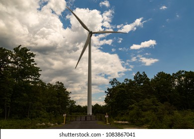 Mahanoy City, PA, USA – June 14, 2016: A Gamesa 2MW wind turbine in operation at the Locust Ridge Wind Farm in Schuylkill County, Pennsylvania.