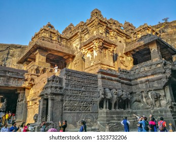 Maharashtra, India, Jan 10, 2018; local and international tourists visiting Ellora Caves in the Aurangabad district of Maharashtra, India, one of the largest rock-cut monastery-temple cave complexes