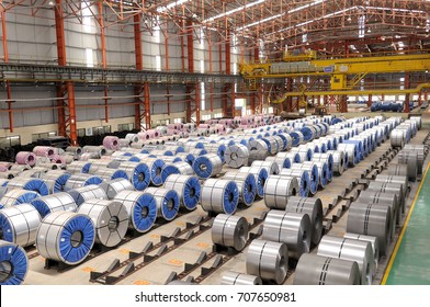 Maharashtra,India,September 20,2009: Steel rolls ready for dispatch at warehouse,India,