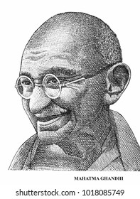 Mahatma Gandhi isolated on white background vertical