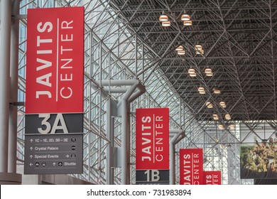 MAHATTAN, NY (10/8/2017) - Directional signs inside of Javits Center.