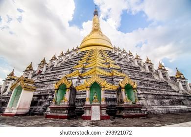 Mahazedi Pagoda at sunset beam of light, Bago Myanmar