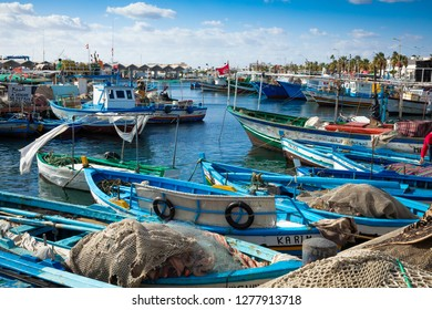 MAHDIA, TUNISIA - DECEMBER 15, 2018: Boats in a fishing port in Mahdia, Tunisia.