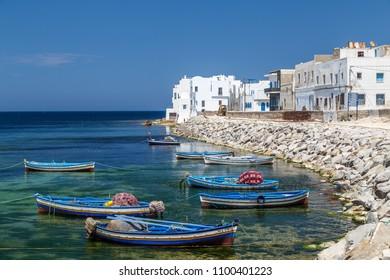 MAHDIA / TUNISIA - JUNE 2015: Colourful fishing boats in Mahdia, Tunisia