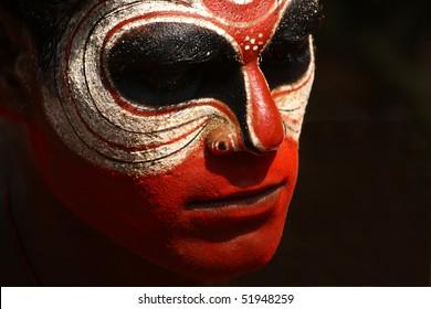 MAHE, INDIA - JANUARY 31 : Theyyam dance performance at Palloor temple January 31, 2010 in Mahe, India.