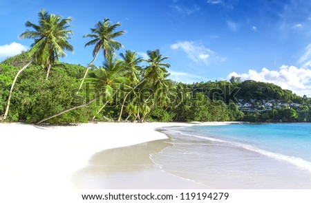 Mahe island, Seychelles. Baie Lazare (Beach). The island of dreams for a rest and relaxation. White coral beach sand. A heavenly place.