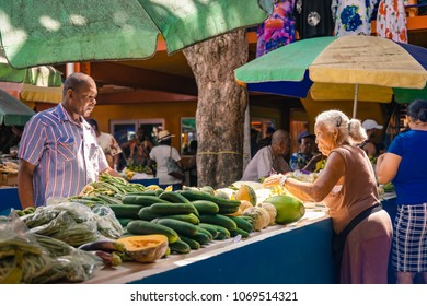 MAHE, SEYCHELLES - March 2018 - food market, Victoria, people sale fish and vegetables on the market
