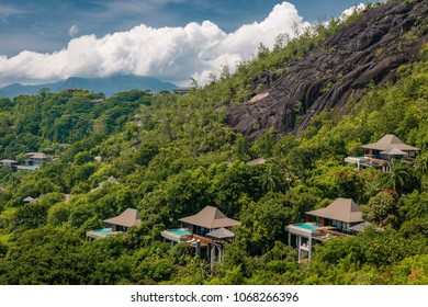 Mahe Seychelles March 2018, luxury bungalows at the Four Season resort in the mountains