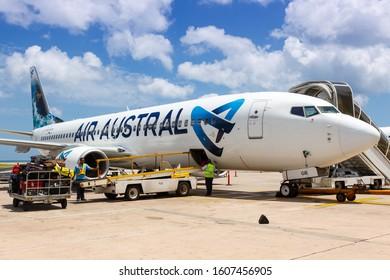 Mahe, Seychelles - November 26, 2017: Air Austral Boeing 737-800 airplane at Seychelles International Airport (SEZ) in the Seychelles.