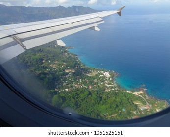 MAHE, SEYCHELLES - SEPTEMBER 3 2017: Landing at Seychelles (Mahe) International airport