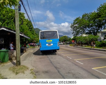 MAHE, SEYCHELLES - SEPTEMBER 3 2017: Airport bus station at Seychelles. Mahe island