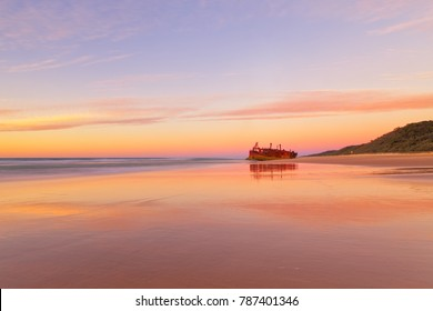 The Maheno Shipwreck on Fraser Island's 75 mile beach at sunrise
