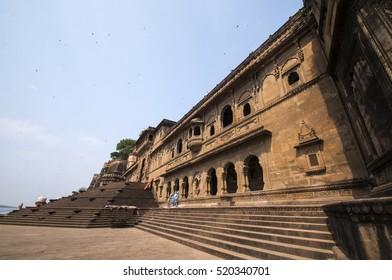 MAHESHWAR, MADHYA PRADESH, INDIA, 17 OCTOBER 2011 : Exterior shots of the scenic tourist landmark Maheshwar fort in Madhya pradesh in India. This monument on the banks of the narmada.