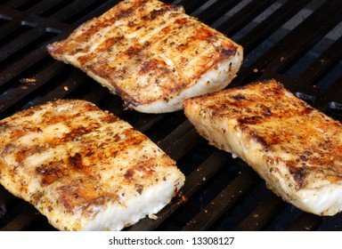 Mahi on the grill at a cookout
