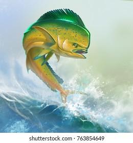 Mahi mahi yellow or dolphin fish on sea wave