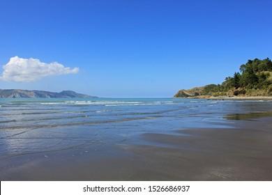 mahia beach on a beautiful sunny day