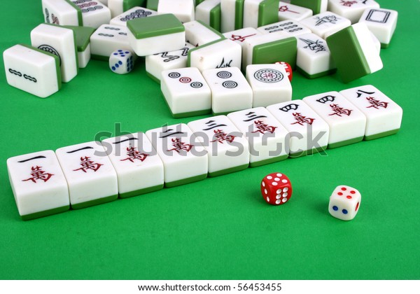 Mahjong Tiles Aligned Two Dices Royalty Free Stock Image