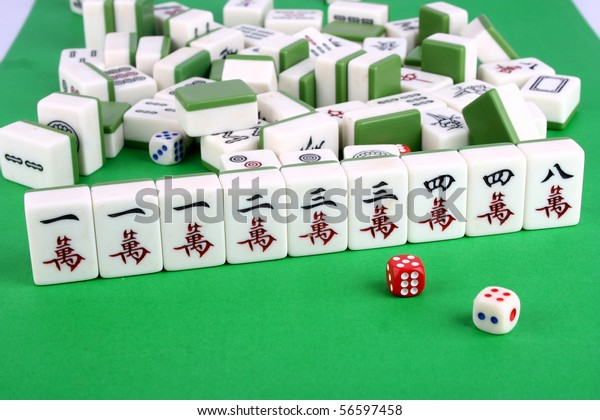 Mahjong Tiles Aligned Two Dices Stock Photo Edit Now 56597458