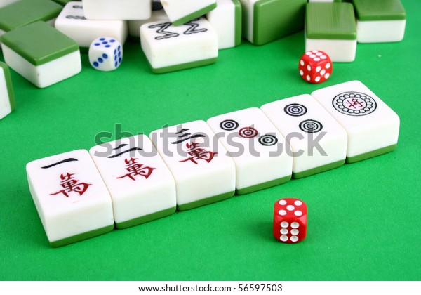 Mahjong Tiles Aligned Two Dices Sportsrecreation Objects