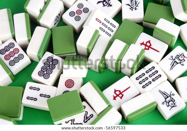 Mahjong Tiles Aligned Two Dices Stock Photo Edit Now 56597533