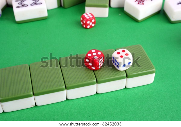 Mahjong Tiles Aligned Two Dices Stock Photo Edit Now 62452033