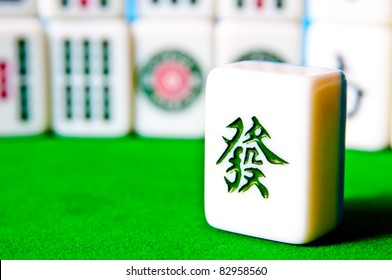 Mahjong tiles very popular game in China