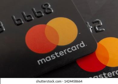 Mahmutlar / Turkey - June 01, 2019: MasterCard plastic electronic card macro close up view